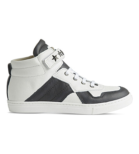 STEP2WO Starship leather high-top trainers 5-10 years (Blk+white+lthr