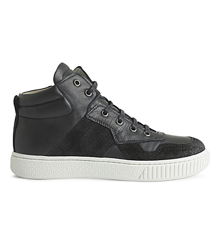 STEP2WO Rigon leather high-top trainers 5-10 years (Black+leather
