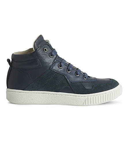 STEP2WO Rigon leather high-top trainers 5-10 years (Navy+leather