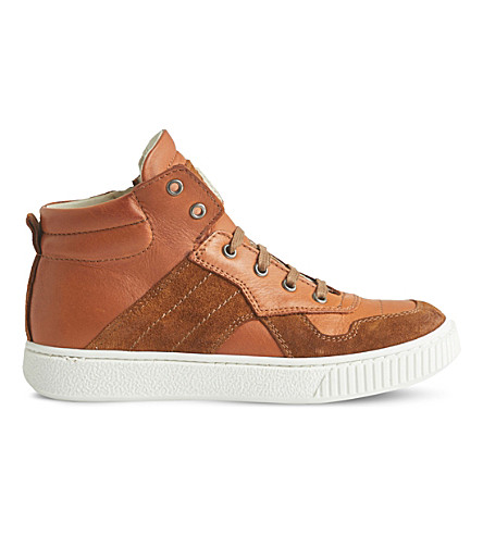 STEP2WO Rigon leather high-top trainers 5-10 years (Tan+leather