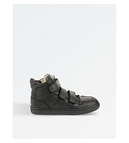STEP2WO Simon leather hightop trainers 6-12 years (Black+leather