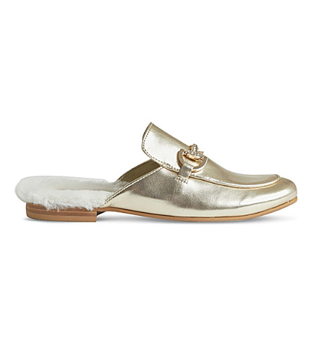 STEP2WO Cinderella leather backless loafers 6-11 years (Gold+leather