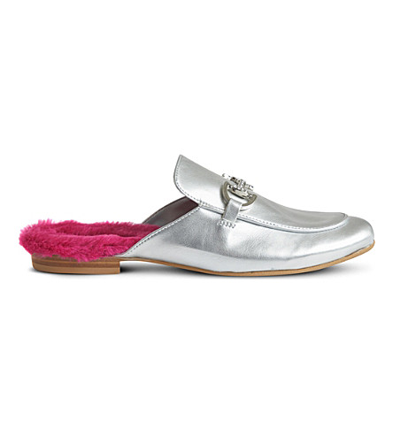 STEP2WO Cinderella leather backless loafers 6-11 years (Silver+leather