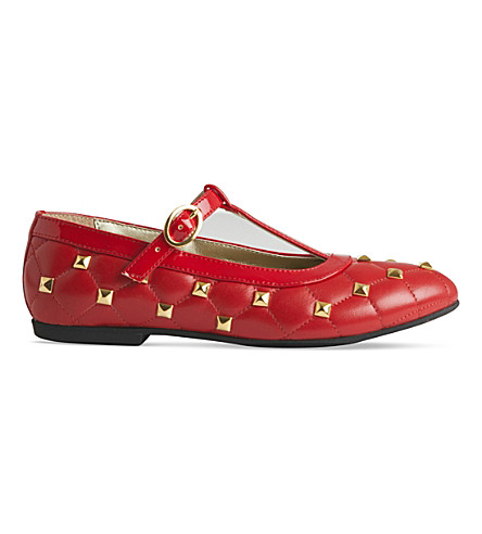 STEP2WO Roma leather T-bar pumps 6-11 years (Red+leather