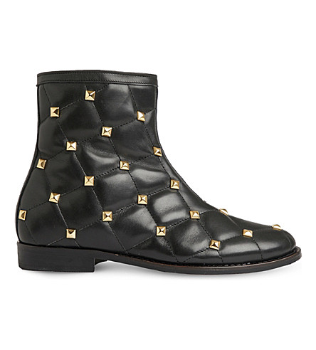 STEP2WO Pisa quilted ankle boots 7-11 years (Black+leather