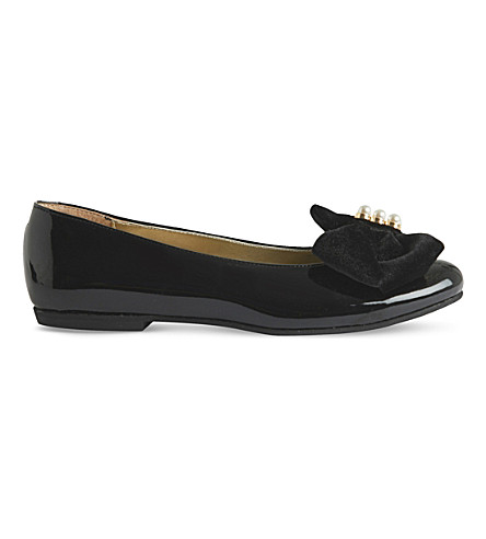 STEP2WO Pearl-embellished patent slip-on shoes (Black+patent