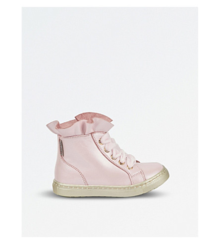 STEP2WO Sadie leather high-top trainers 5-9 years (Pink+leather