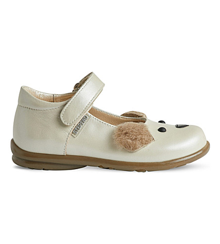 STEP2WO Ted furry-eared shoes (Beige+leather