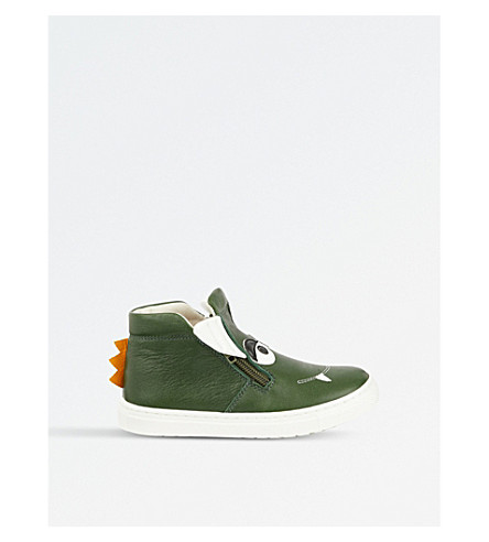 STEP2WO Grisu leather high top trainer (Green+leather