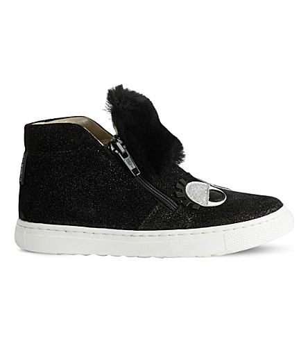 STEP2WO Gloria black glitter high-top trainers (Black+glitter