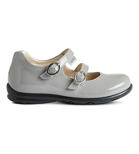 STEP2WO Bella buckle strap patent shoes (Grey+patent