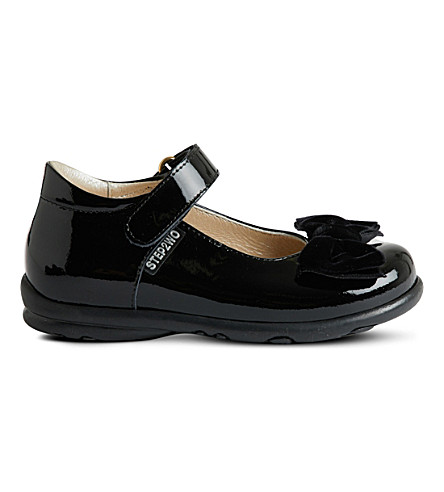 STEP2WO Palace velvet bow patent shoes (Black+patent