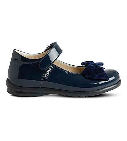 STEP2WO Palace velvet bow patent shoes (Navy+patent