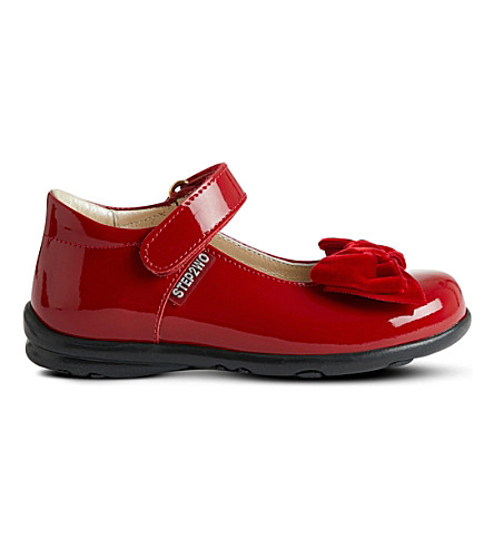 STEP2WO Palace velvet bow patent shoes (Red+patent