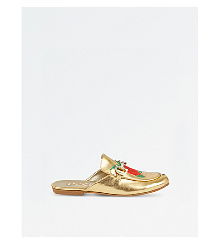 STEP2WO Estelle metallic leather slip-on shoes (Gold+leather