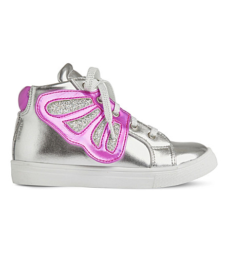 STEP2WO Butterfly leather high-top trainers 3-6.5 years (Silver+leather