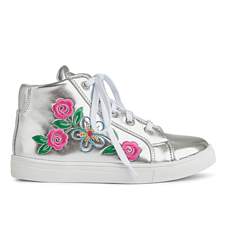 STEP2WO Flora leather high-top trainers 3-11 years (Silver+leather