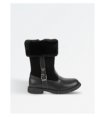 STEP2WO Logan leather and faux fur boots 5-8 years (Black+leather