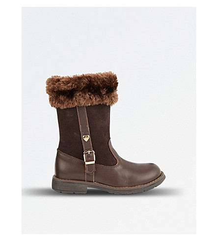 STEP2WO Logan leather and faux-fur boots 5-8 years (Brown+leather