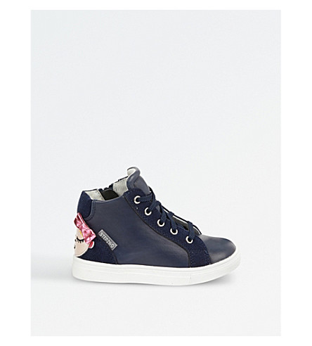 STEP2WO Dolly leather high-top trainers 3-6 years (Navy+leather