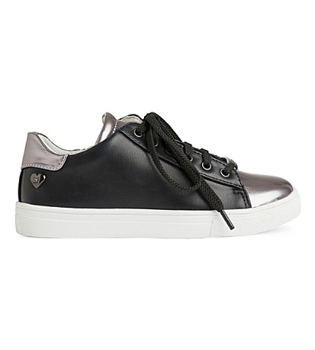 STEP2WO Coryn leather low-top trainers 7-11 years (Black+leather