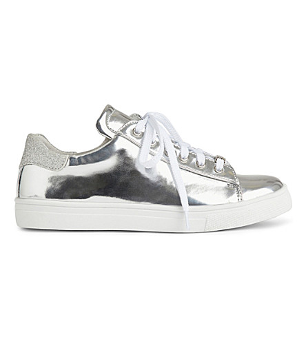 STEP2WO Izzy metallic low-top trainers 6-11 years (Silver+leather