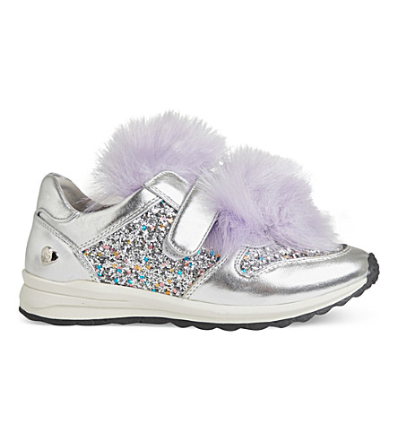 STEP2WO Rory metallic faux-fur trainers 7-11 years (Silver+glitter