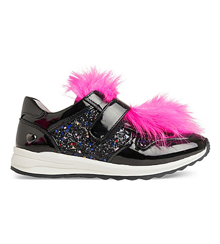 STEP2WO Rory patent faux-fur trainers 7-11 years (Black+glitter
