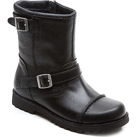 UGG Cowen leather boots 7-9 years (Black