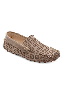 FENDI Logo print suede loafers 6-10 years