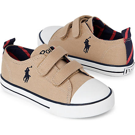 RALPH LAUREN Canvas double-strap trainers 3-8 years (Khaki