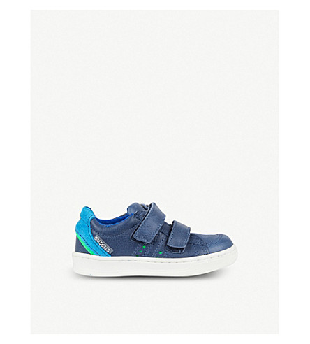 STEP2WO Sidney suede-panelled leather trainers 2-8 years (Navy+leather