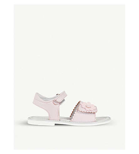 STEP2WO Cressida floral-detail leather sandals 3-10 years (Pink+leather
