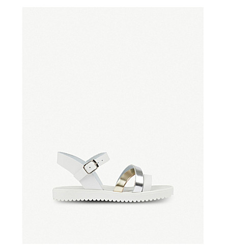 STEP2WO Laura metallic two-tone leather sandals 6-11 years (White