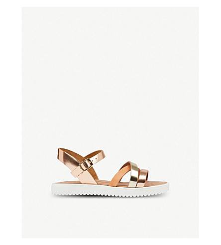 STEP2WO Laura metallic two-tone leather sandals 6-11 years (Rose+gold