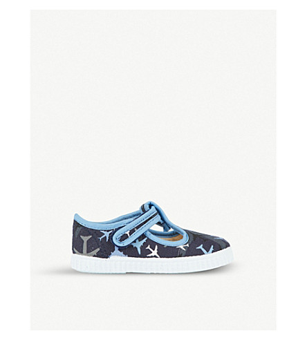 STEP2WO Mitch plane-print canvas t-bar shoes 6 months – 7 years (Blue+multi