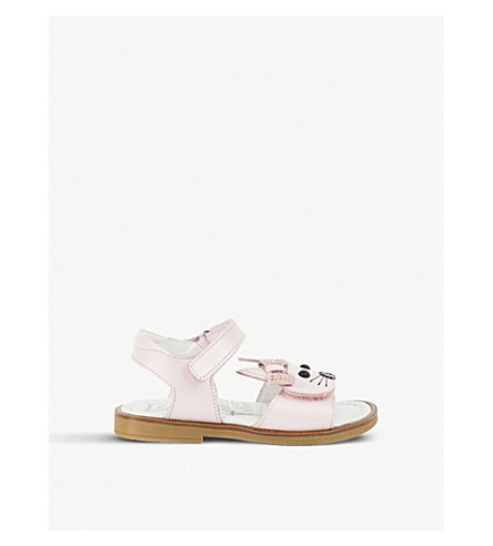 STEP2WO Rabbit bow-detail leather sandals 1-5 years (Pink+leather