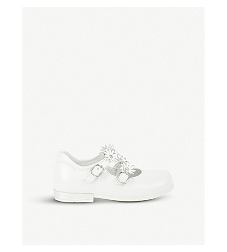 STEP2WO Flower-detail leather Mary-Jane shoes 1-5 years (White+leather