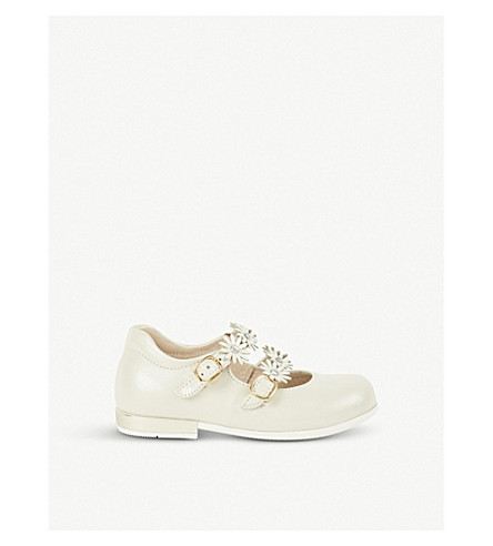 STEP2WO Flower-detail leather Mary-Jane shoes 1-5 years (Beige+leather