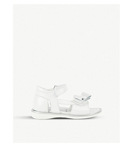 STEP2WO Marta bow-detail leather sandals 1-5 years (White+leather