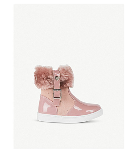 STEP2WO Mini Logan leather and faux-fur boots (Pink
