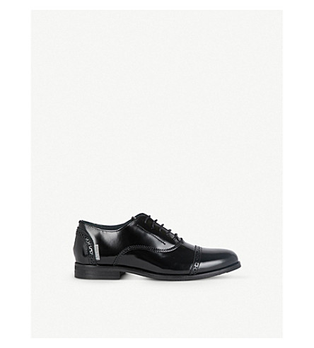STEP2WO Jacob brogue-detail lace-up leather shoes (Black+leather