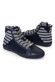 ARMANI Striped-back high tops 6-9 years