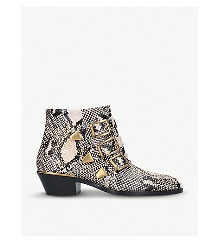 CHLOE 苏珊娜镶嵌 python-打印皮革踝靴 (灰色/其他
