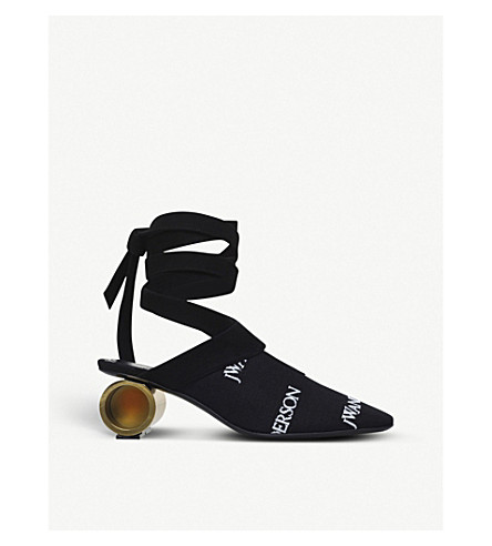 JW ANDERSON Cylinder canvas and leather mules (Blk/white