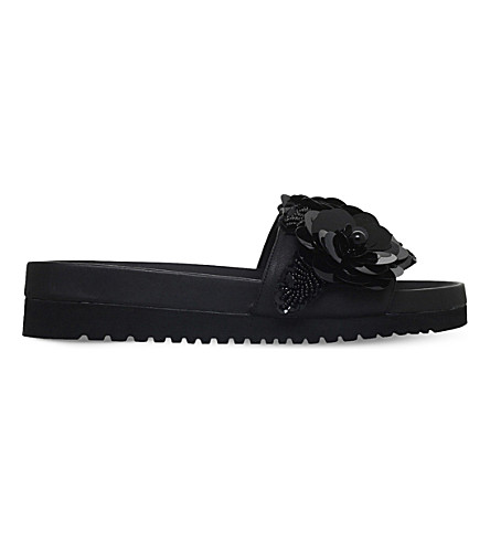 SENSO Issy embellished leather slider sandals (Black
