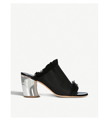 PROENZA SCHOULER Fray satin heeled mules (Black