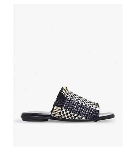 PROENZA SCHOULER Frayed leather sliders (Blk/white