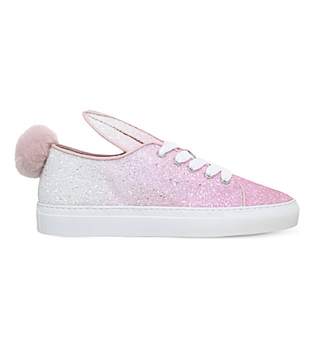 MINNA PARIKKA Tail glitter-embellished leather trainers (Pink+comb