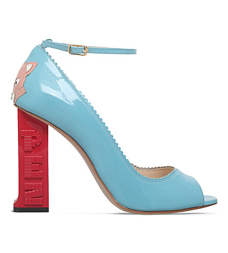 CAMILLA ELPHICK PEZ Gatto patent-leather courts (Pale+blue